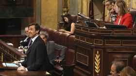 Rafael Hernando, durante su intervención hoy en el Congreso para responder al líder de Podemos, Pablo Iglesias