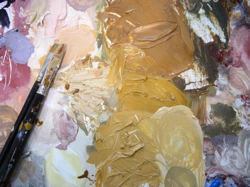 Una de las paletas de pintura utilizadas.
