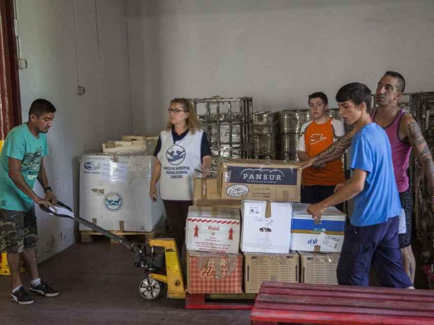 Varios voluntarios trabajando en el Banco de Alimentos de Córdoba.