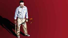 Ilustración a partir de la información ofrecida por la Policía: el marido esperaba a su esposa en casa armado con dos escopetas de caza.