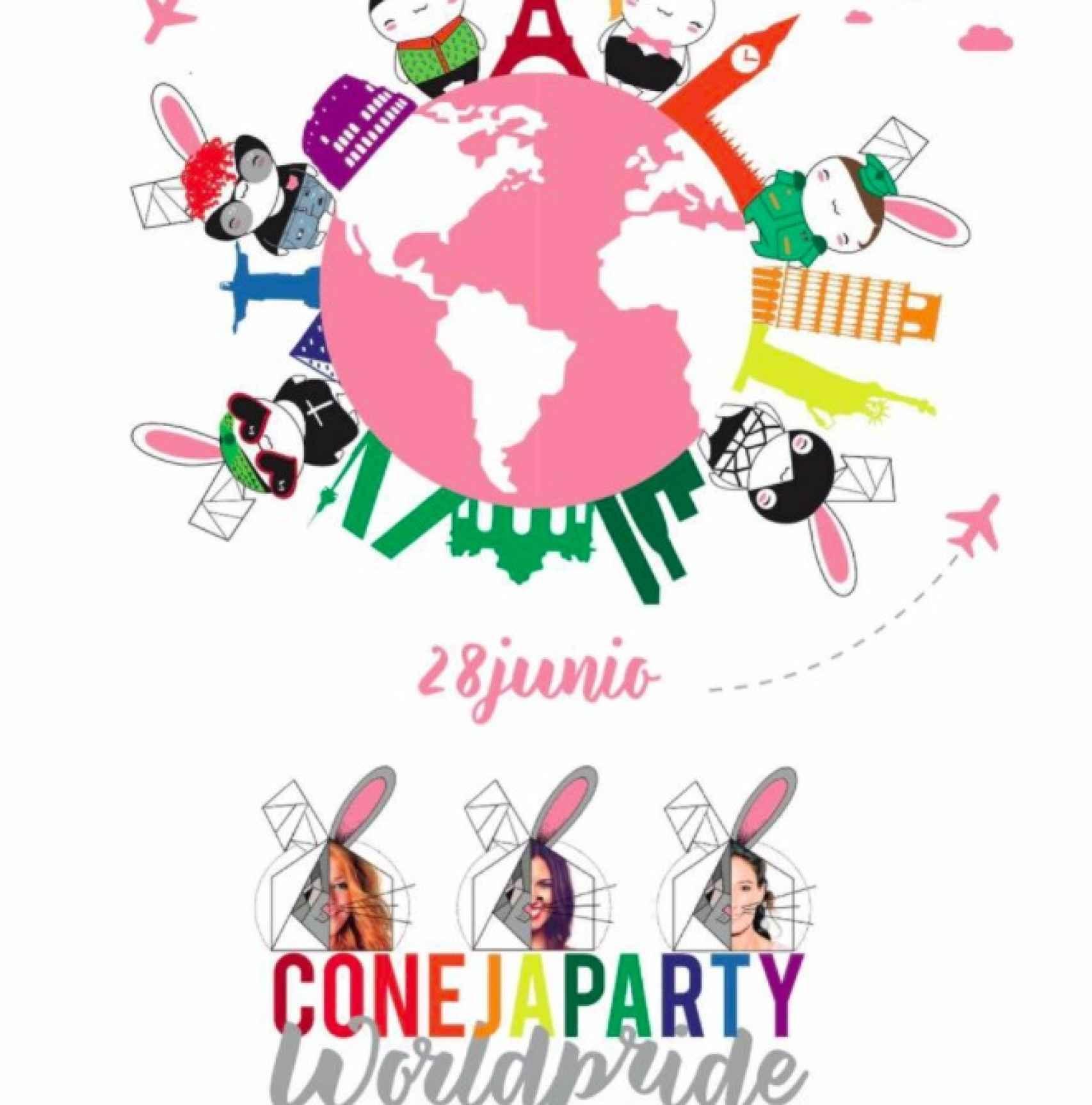 Cartel promocional de la fiesta 'Conejas Party'