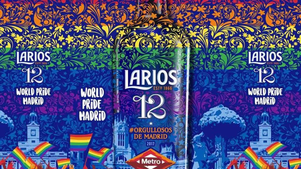 La divertida botella de Larios 12 para el Orgullo LGTB.