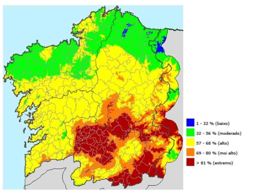 El Índice de Riesgo Diario de Incendio (IRDI), que la Xunta de Galicia utiliza para saber el estado de la comunidad en cada momento. Esto, el pasado jueves.