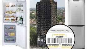 Montaje de un modelo de la nevera incendiada y su etiqueta.