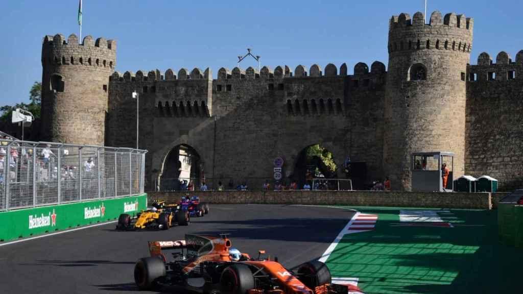 Alonso, durante el GP de Azerbaiyán en el que quedó noveno.
