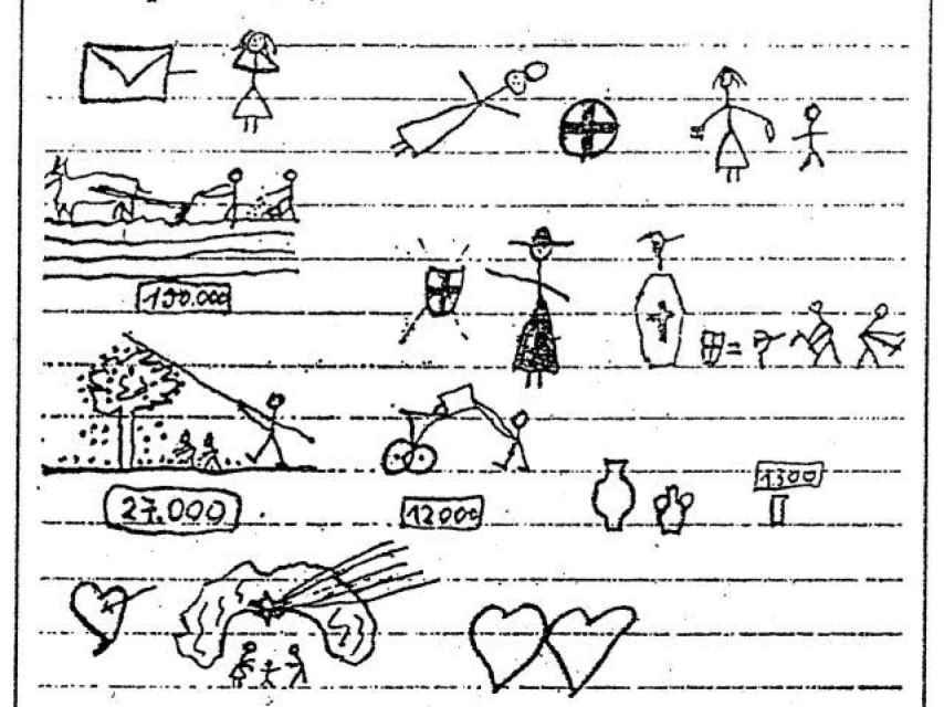 La carta de amor de la mujer italiana analfabeta, basada en símbolos. Habla de política, el campo, sus hijos y los jornaleros.