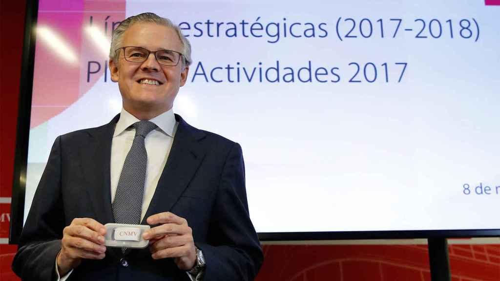 El presidente de la CNMV Sebastián Albella en la rueda de prensa en la que presentó los objetivos del organismo.
