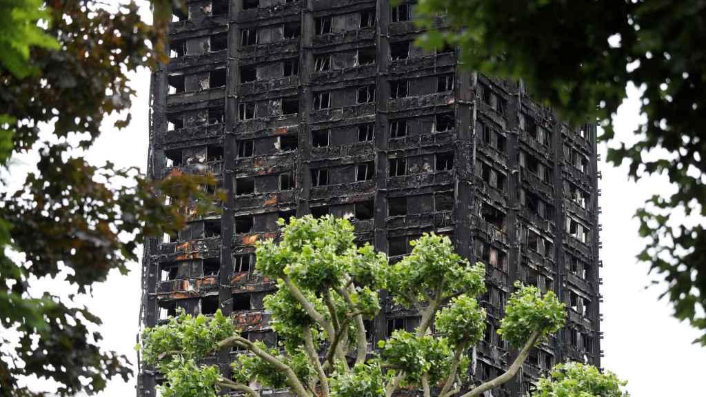 Estado de la Grenfell Tower tras el incendio.