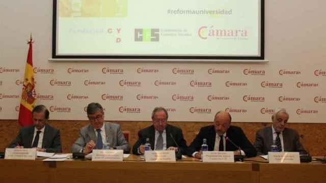 Los impulsores del informe junto con el secretario de Estado de Educación, Marcial Marín (2º por la izq)