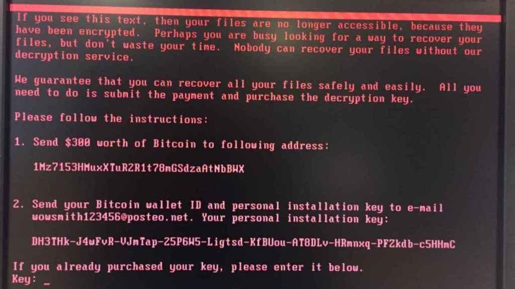 Pantallazo del mensaje aparecido en los ordenadores infectados por el ciberataque