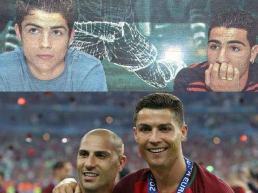 Cristiano Ronaldo y Quaresma hace 15 años (arriba) y tras ganar la Eurocopa (abajo).