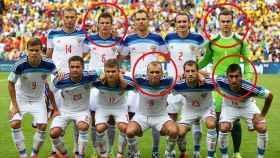 Los futbolistas rusos señalados durante el Mundial de Brasil 2014.
