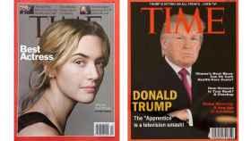 La portada real a la izquierda y la que cuelga en los clubs de la Trump