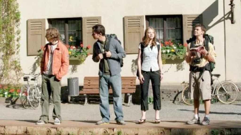 Los protagonistas de la película Eurotrip (2004), de viaje por Europa.