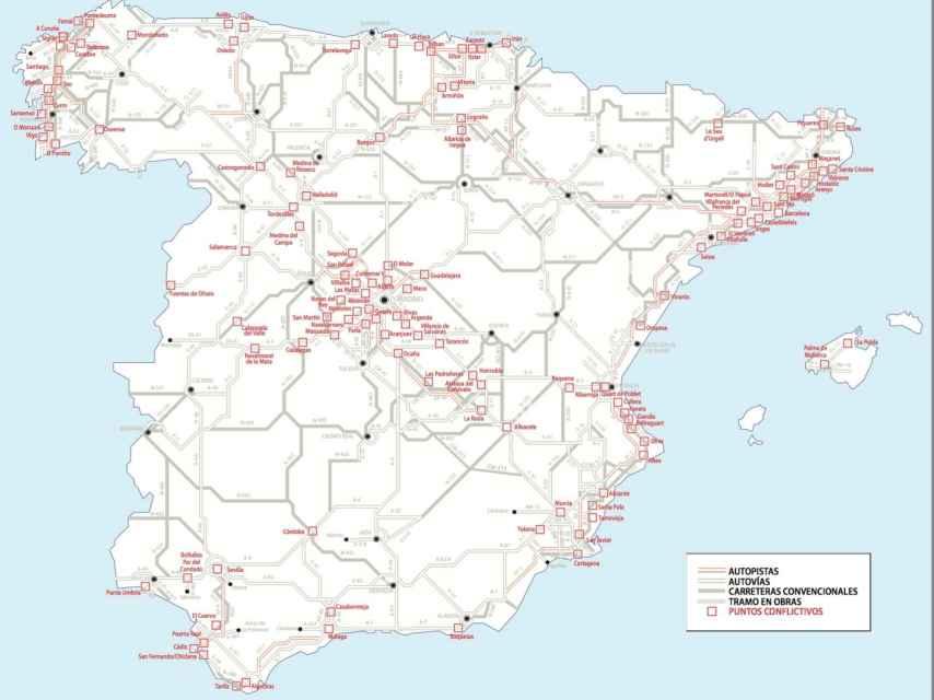 Mapa de puntos conflictivos para el verano.