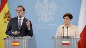 Rajoy, junto a la primera ministra polaca, Beata Szydlo.