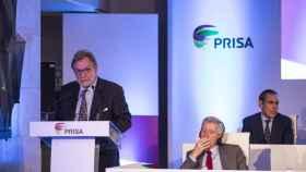 Juan Luis Cebrián, durante la junta de accionistas de Prisa de 2017