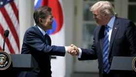 Trump con su homólogo de Corea del Sur en la Casa Blanca
