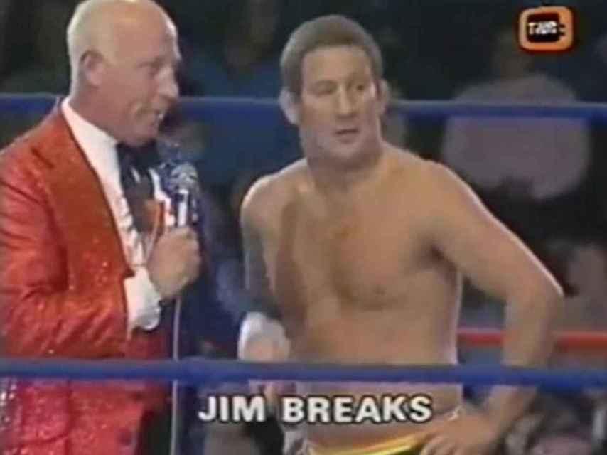 James Breaks, en uno de los combates televisados del British Wrestling.