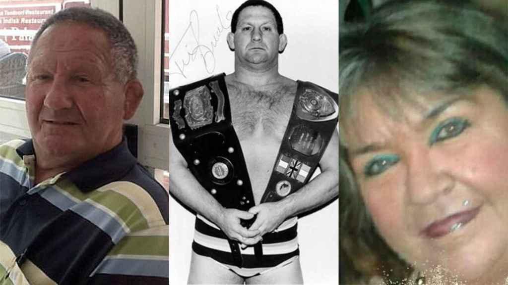 De izquierda a derecha: Breaks en la actualidad, Breaks en su época de luchador profesional y Donna Cowley.