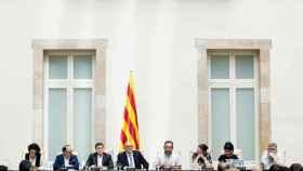 Los diputados de JxSí durante el acto celebrado este martes.