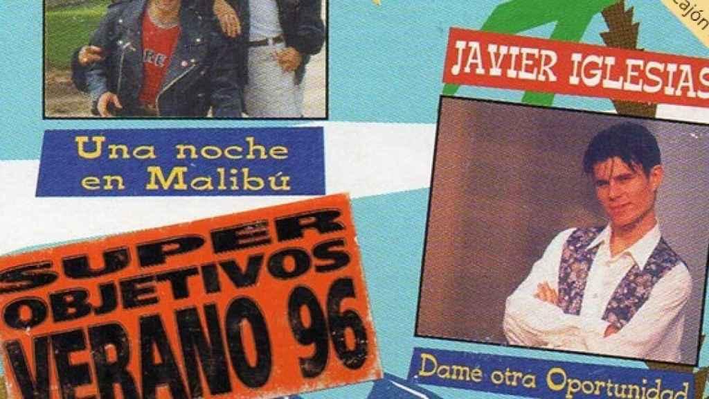 Javier Sánchez en la portada del disco Éxitos del Verano 1996.