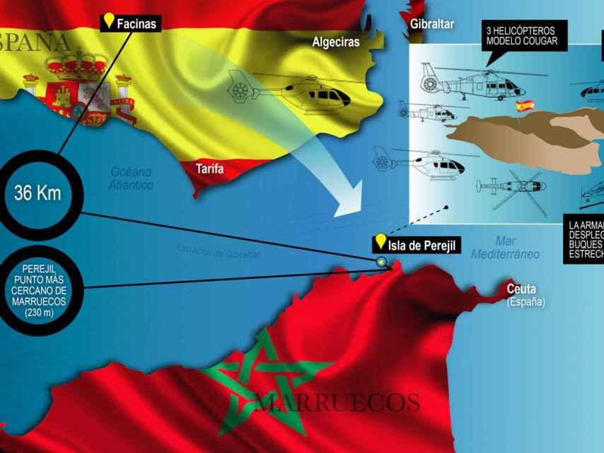 La operación Romeo-Sierra arrancó a las seis de la mañana del 17 de julio de 2002 en Perejil. El objetivo era recuperar el islote.