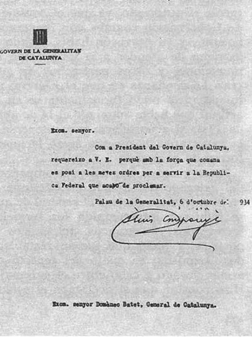 Orden de Companys a Batet de proclamar la Independencia de Cataluña en 1934.