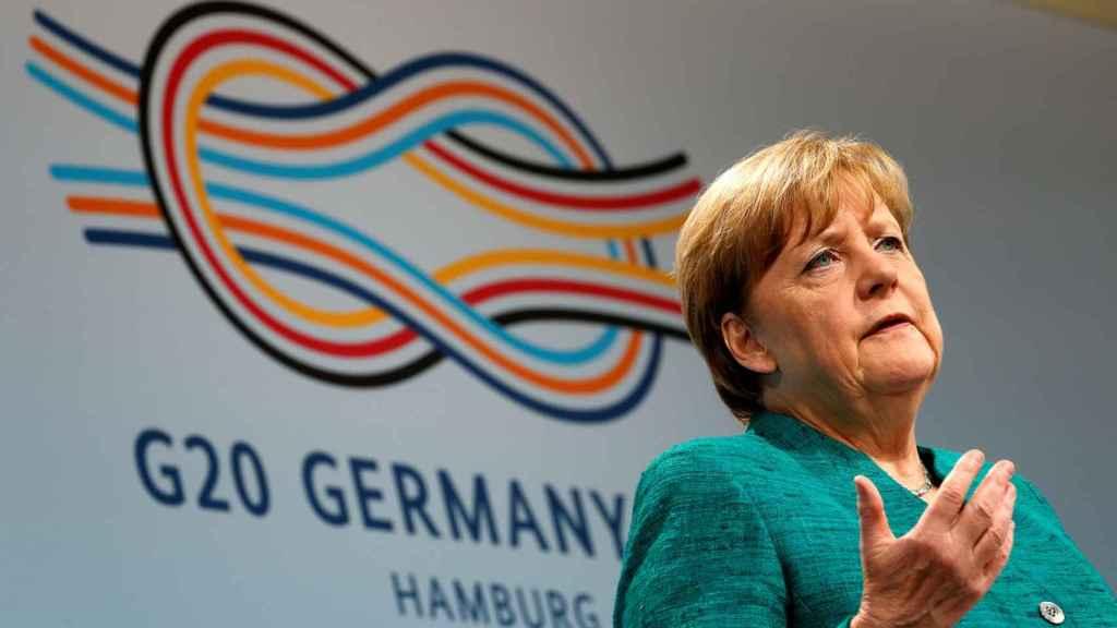 La canciller alemana Angela Merkel durante una conferencia de prensa en Hamburgo.