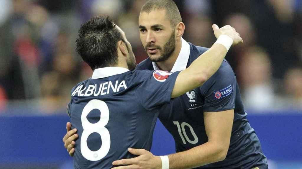 Valbuena y Benzema, en un partido con Francia