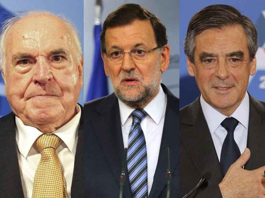 De izquierda a derecha, Helmut Kohl, Mariano Rajoy y François Fillon.