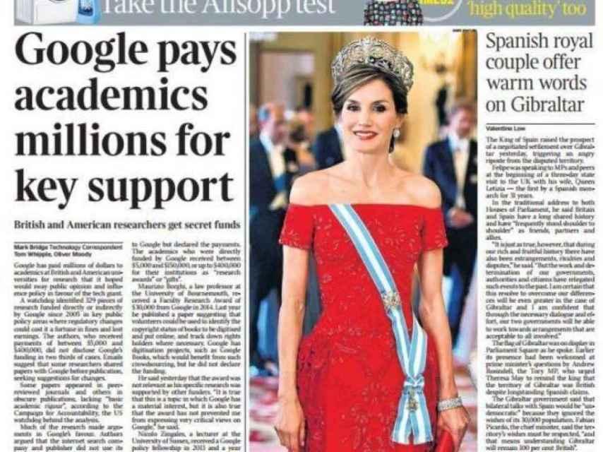 Portada de este jueves del periódico inglés The Times.