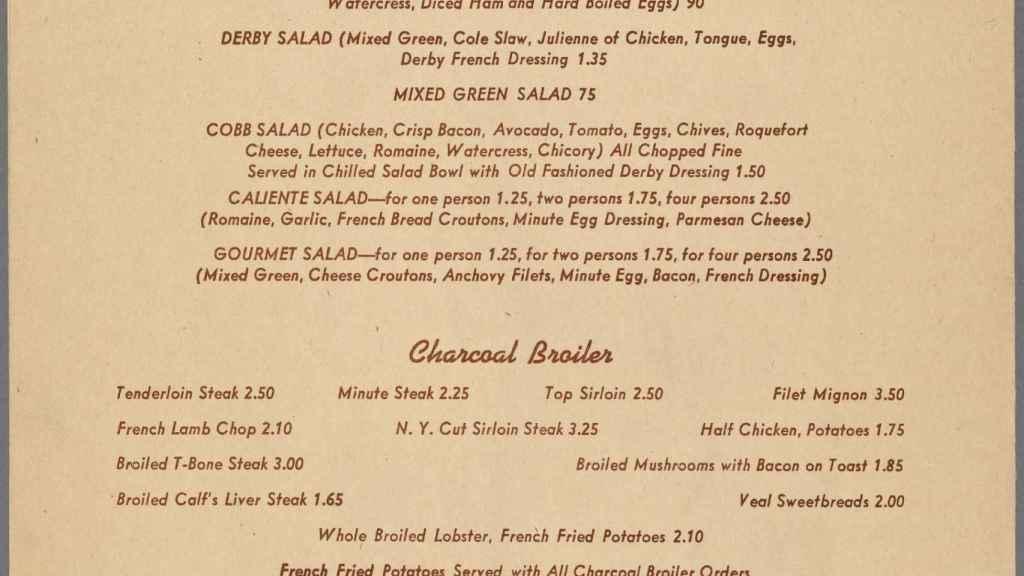 La carta del restaurante Brown Derby con la 'Caliente salad'.