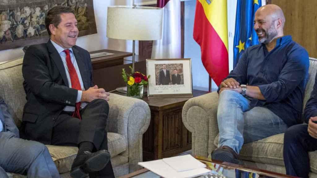 Emiliano García-Page y  José García Molina durante la negociación para que Podemos entrara en el Gobierno manchego.