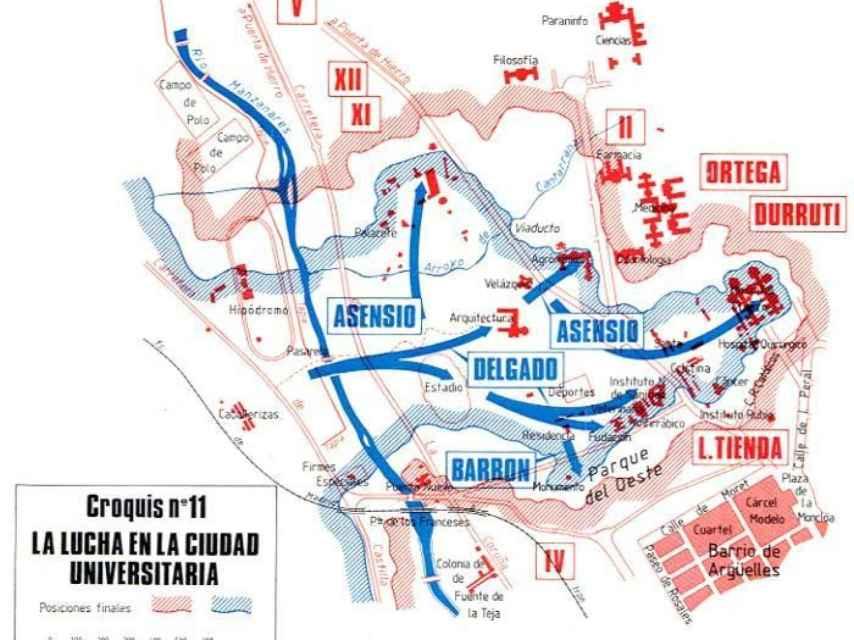Mapa de las zonas republicanas y franquistas, en la Universitaria.