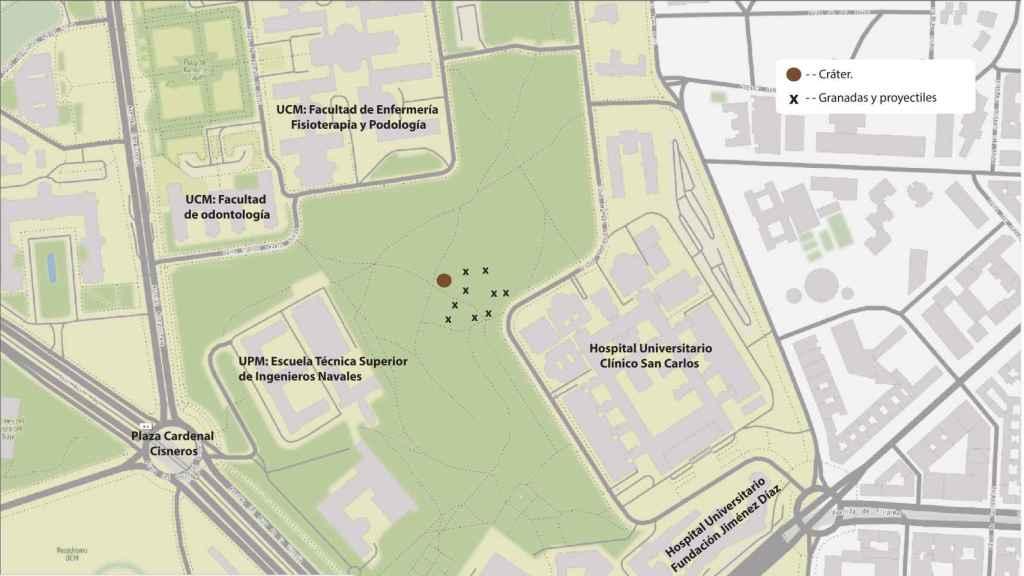 Mapa de la zona en la que han actuado los arqueólogos y hallazgos.