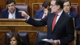 El presidente del Gobierno, Mariano Rajoy, este miércoles en el Congreso.