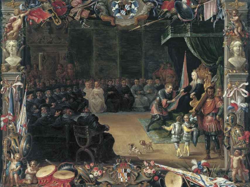 La entrega del bastón de Capitán General a Antonio de Moncada por la reina Blanca.