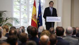 El presidente del Gobierno, Mariano Rajoy, durante la presentación del nuevo plan de carreteras.