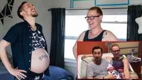 Trystan y Reese, antes y después del parto.