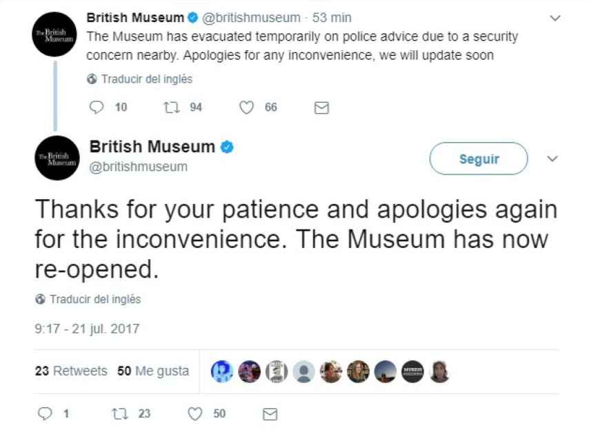 El Museo Británico ha informado con tweets.