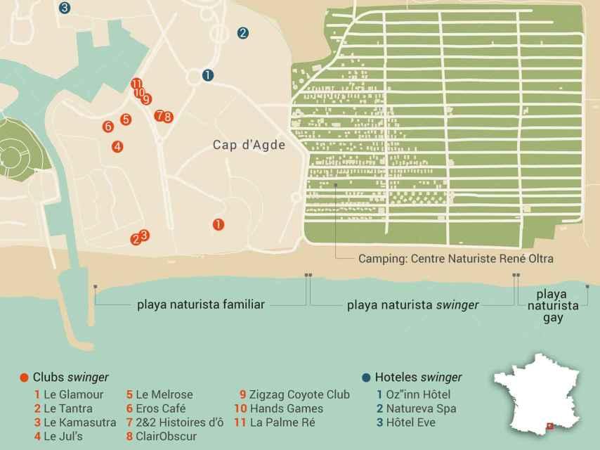 Mapa con las tres playas y los principales locales de intercambio de Cap D'Adge