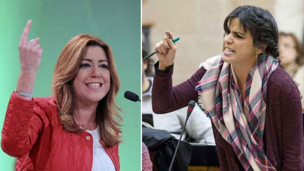 La líder socialista en Andalucía, Susana Díaz, y su homóloga de Podemos, Teresa Rodríguez.