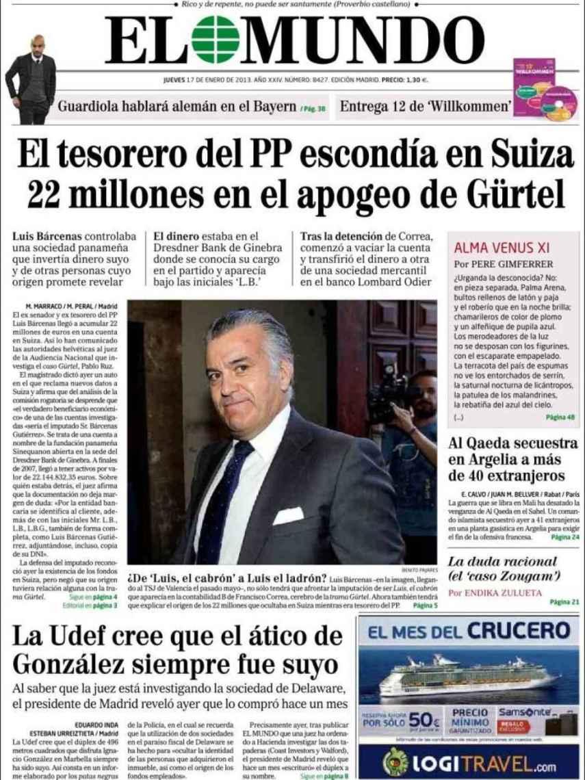 Portada de El Mundo del 17 de enero de 2013.