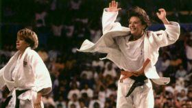 Miriam Blasco, campeona de los Juegos Olímpicos de Barcelona, en 1992. En la imagen, junto a Nicola Fairbrother.