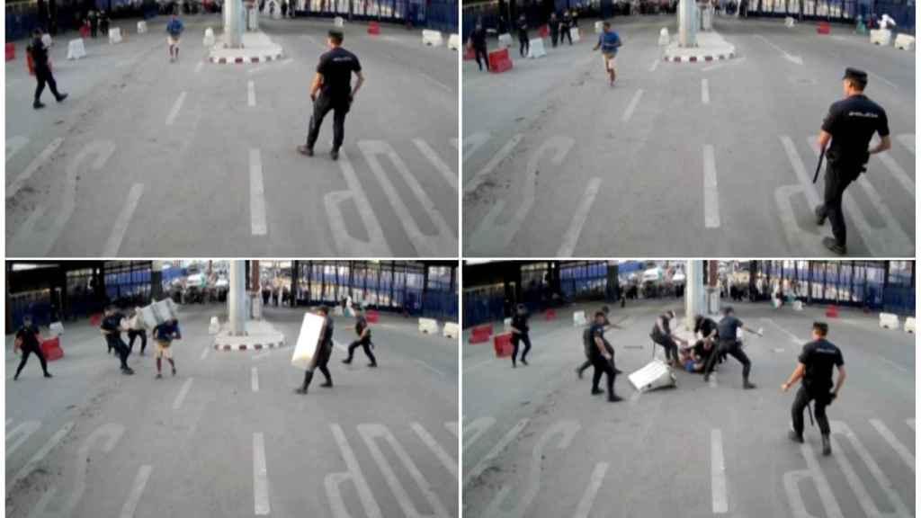 Secuencias del vídeo facilitado por la Policía Nacional con el momento del ataque.