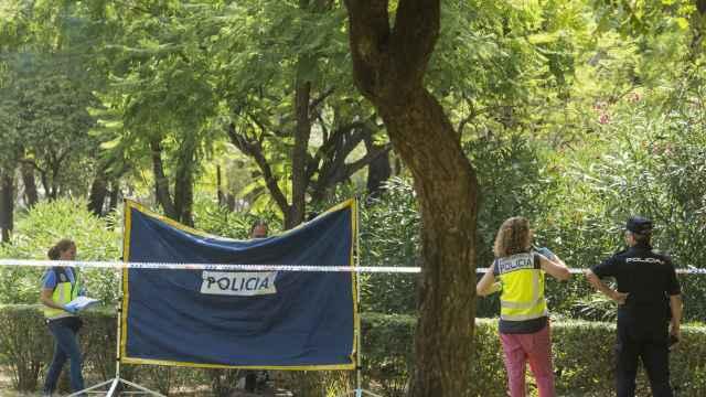 Agentes de Policía Científica y Homicidios inspeccionan el lugar donde han encontrado el cuerpo