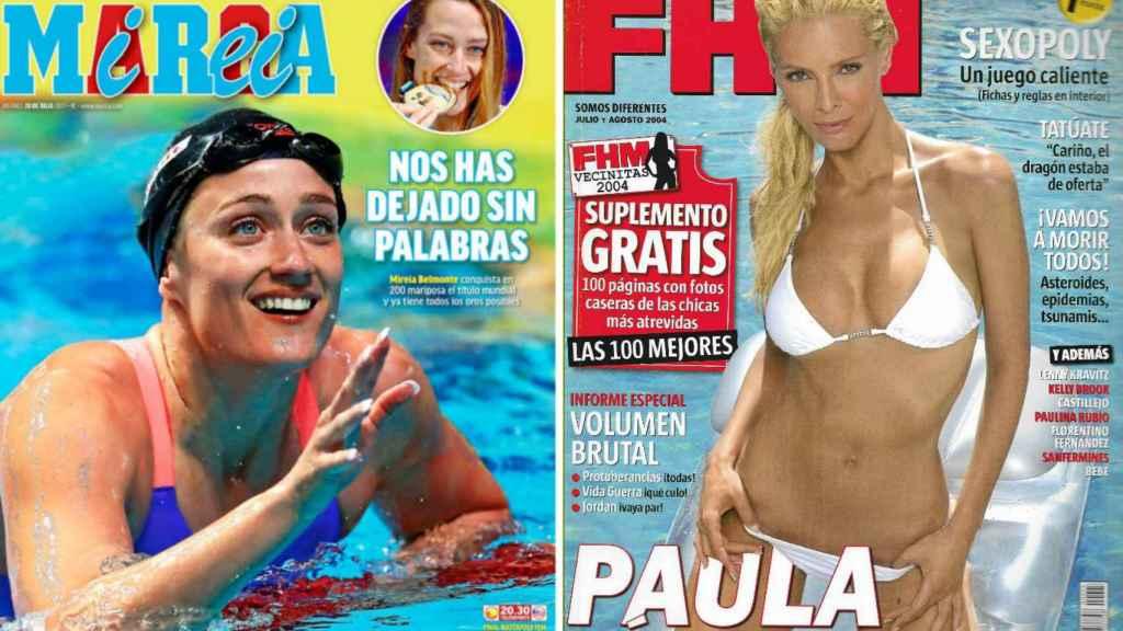 La portada de Mireia Belmonte en el diario Marca y la de Paula Vázquez hace años en la revista FHM.