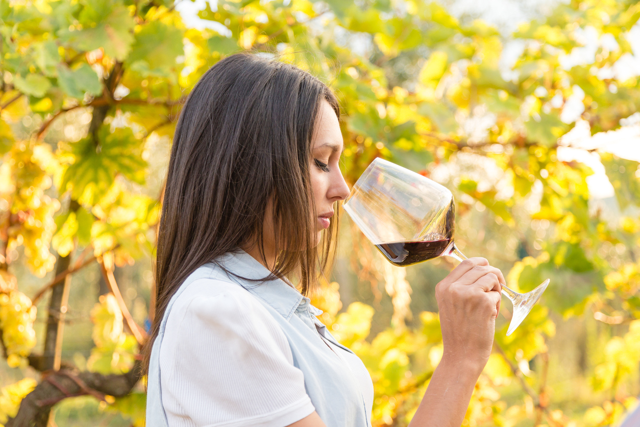 Winemaker with a Glass of Red Wine in Vineyard