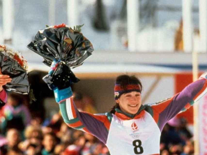 Blanca Fernández Ochoa al ganar el bronce olímpico en el 92.